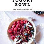 bowl of hibiscus coconut yogurt