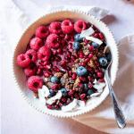 vegan hibiscus coconut yogurt bowl