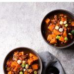 two bowls of vegan sweet potato stew