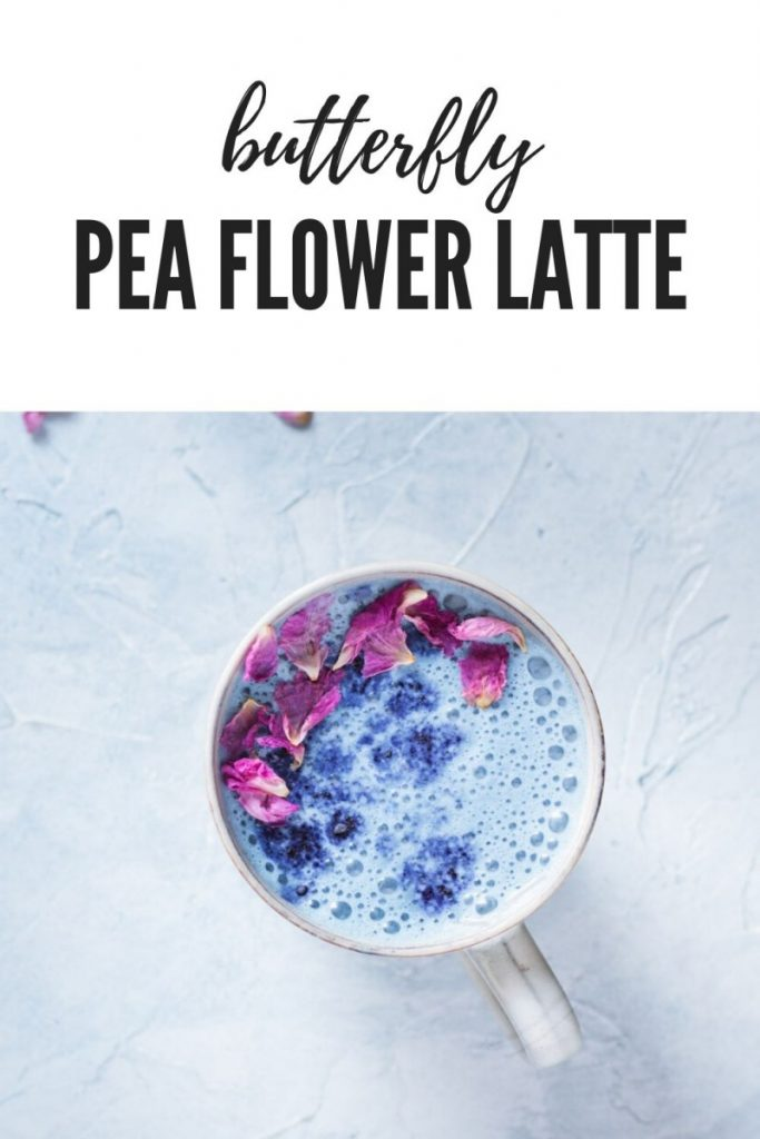 butterfly pea flower latte in mug with rose petals