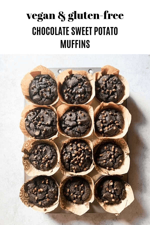 chocolate sweet potato muffins topdown