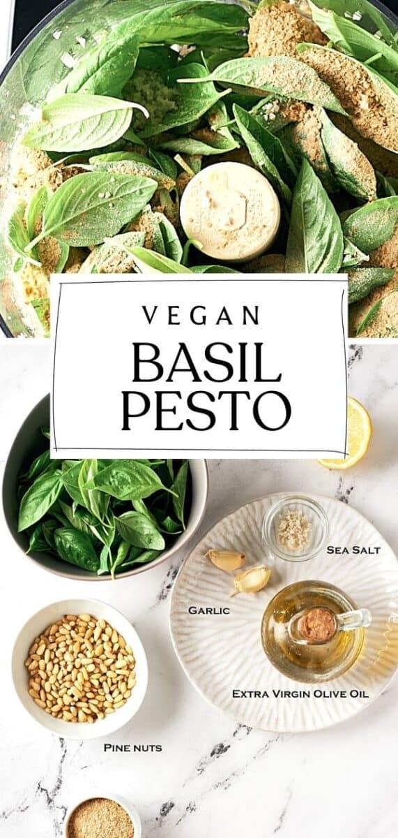 pin of ingredients for vegan basil pesto
