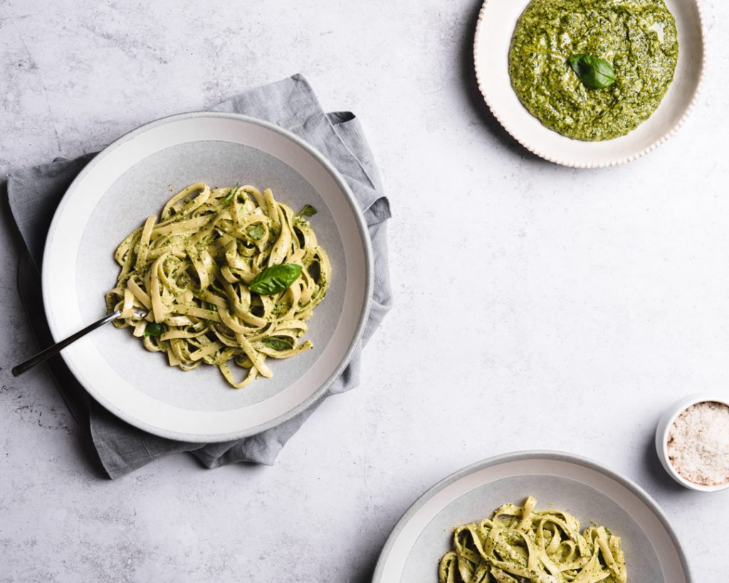perfect vegan pesto pasta on plates
