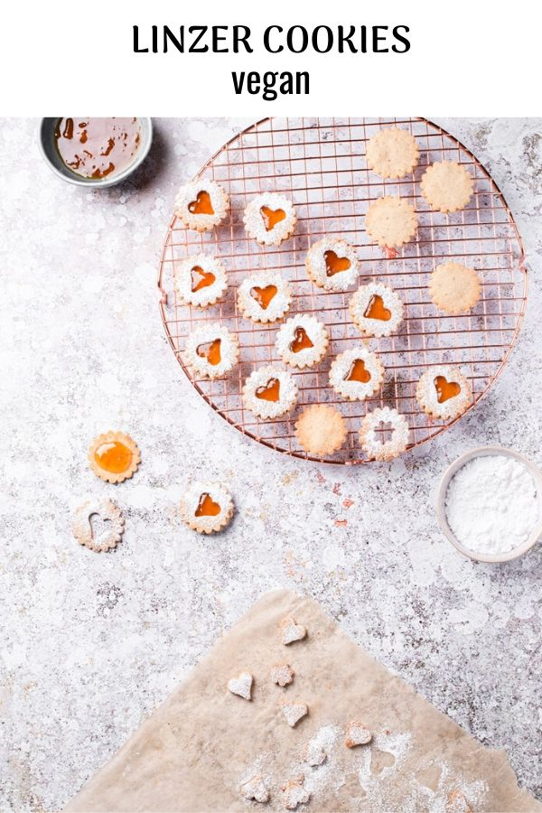 Vegan Linzer Cookies with Apricot Preserves and Amaretto