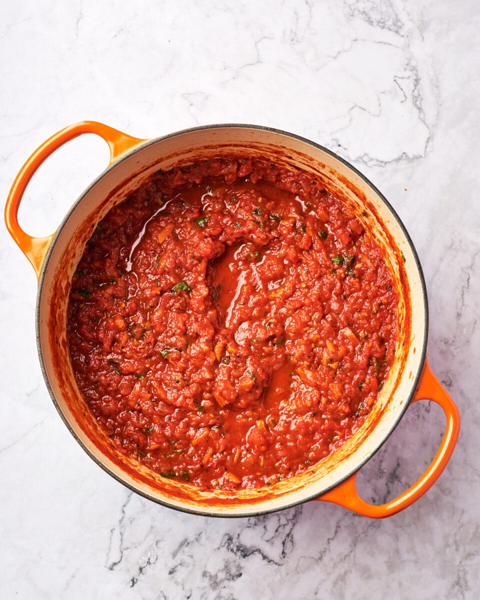 Overhead shot of marinara sauce in stockpot