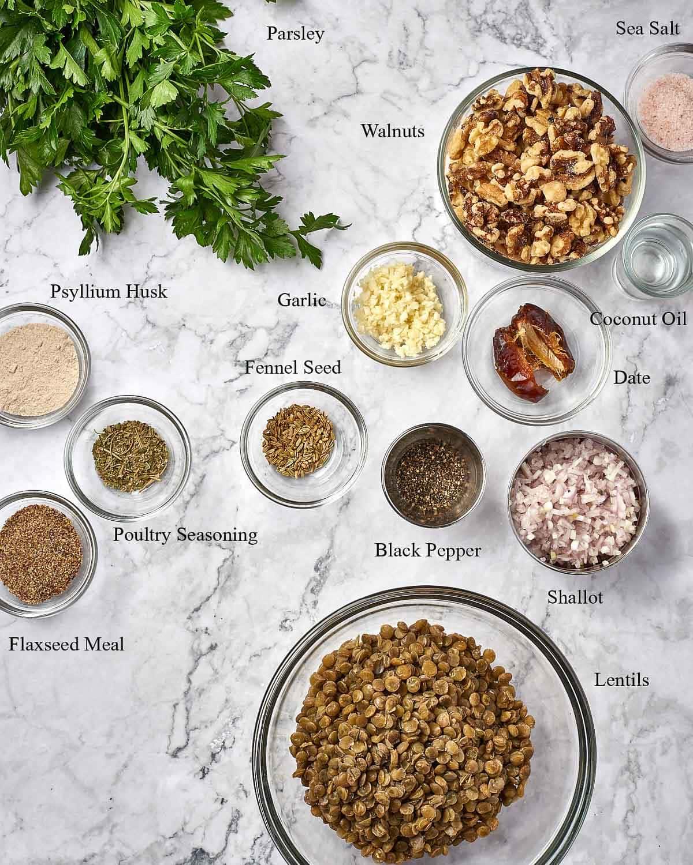 top down shot of easy vegan meatballs ingredients