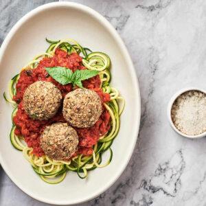 Top view of vegan meatballs on plate