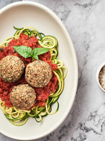 Top view of vegan meatballs on plate
