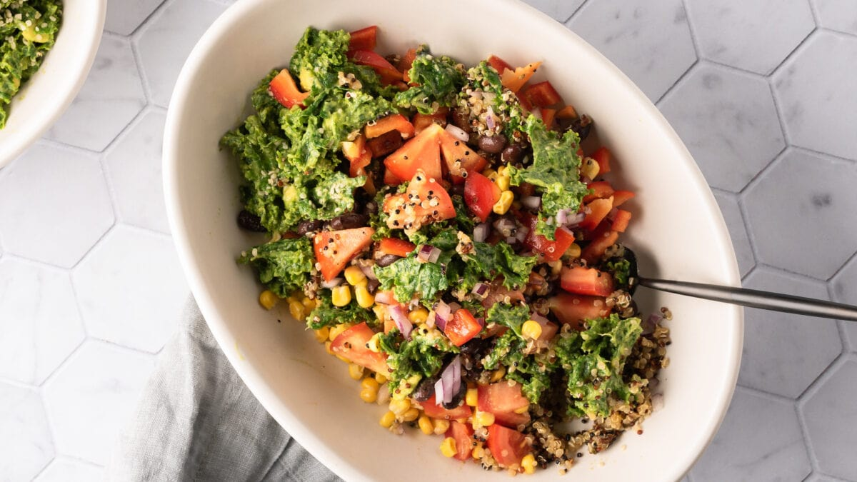 overhead image for FB southwest quinoa bowl