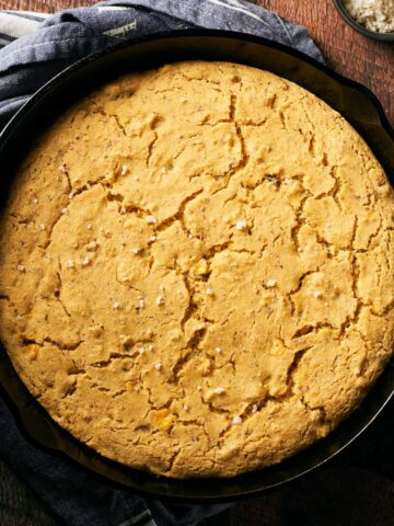 top down view of cornbread in skillet