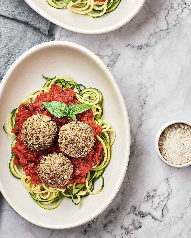 Easy Vegan Meatballs top view
