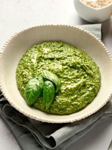 side view of perfect vegan pesto in a bowl