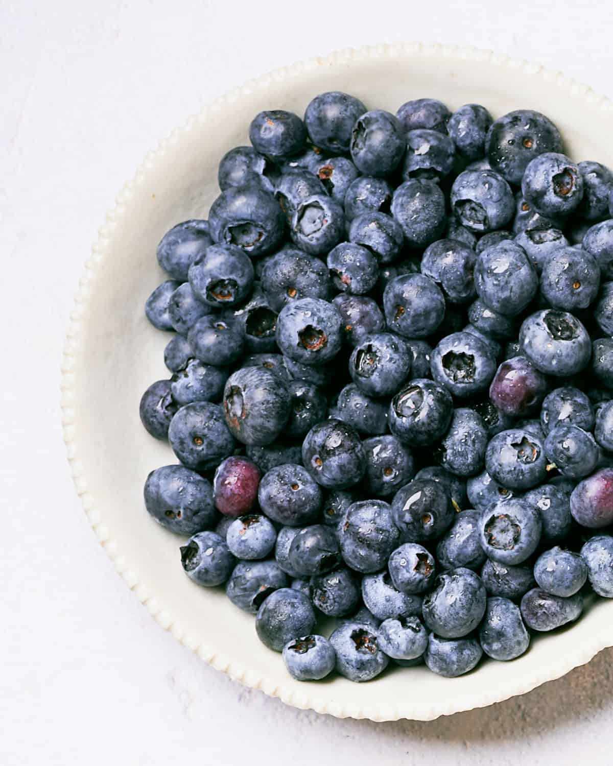 top down view of blueberries in bowl