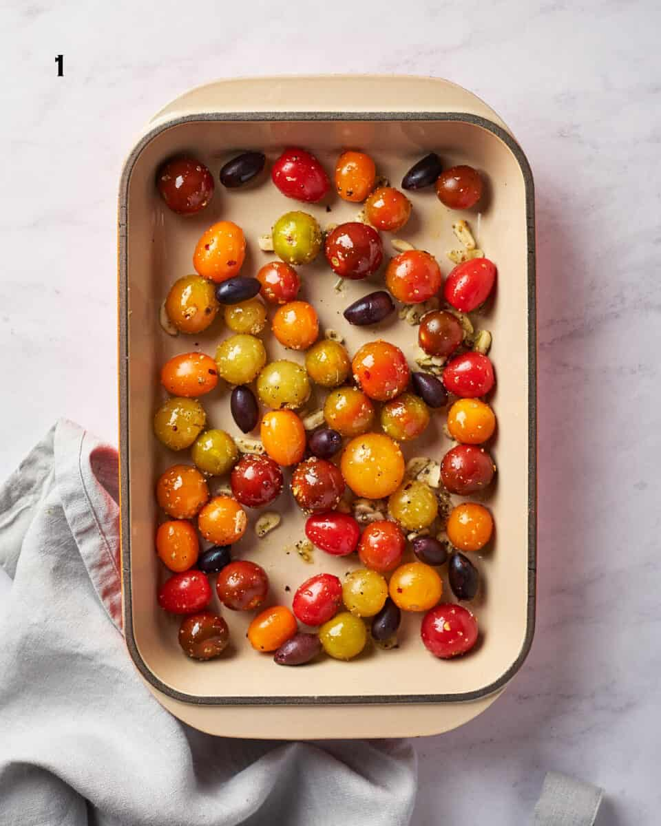 Top view of fresh tomatoes in baking dish