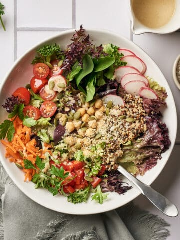 overhead view of salad in bowl with quinoa and chickpeas