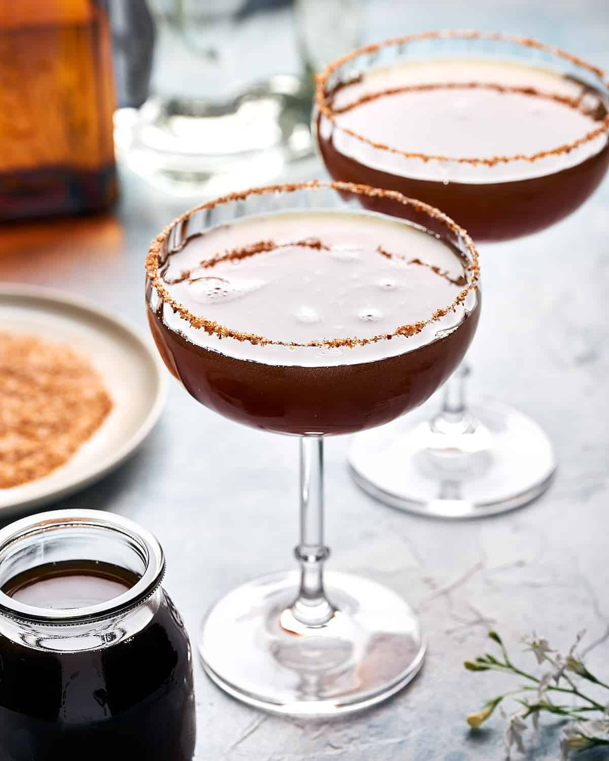 Sideview of 2 margarita cocktails with tamarind juice