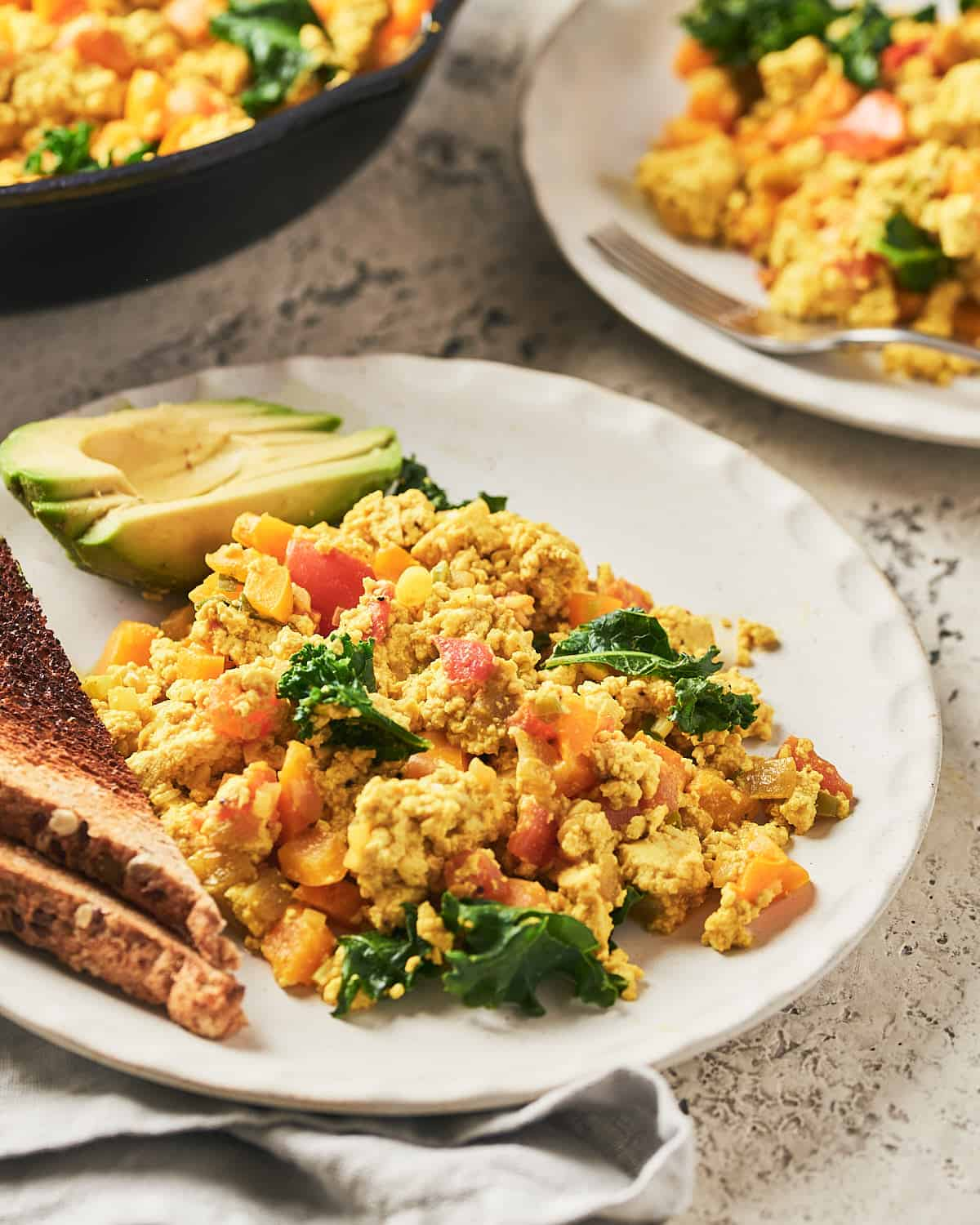 Side view of scrambled tofu on plate