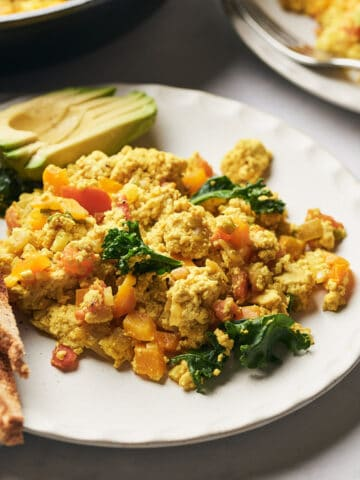 side view of tofu scramble on plate