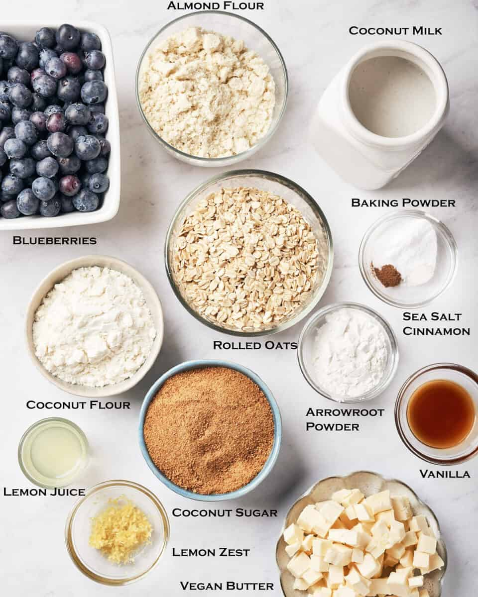 Top view of ingredients for healthy gluten-free vegan blueberry cobbler