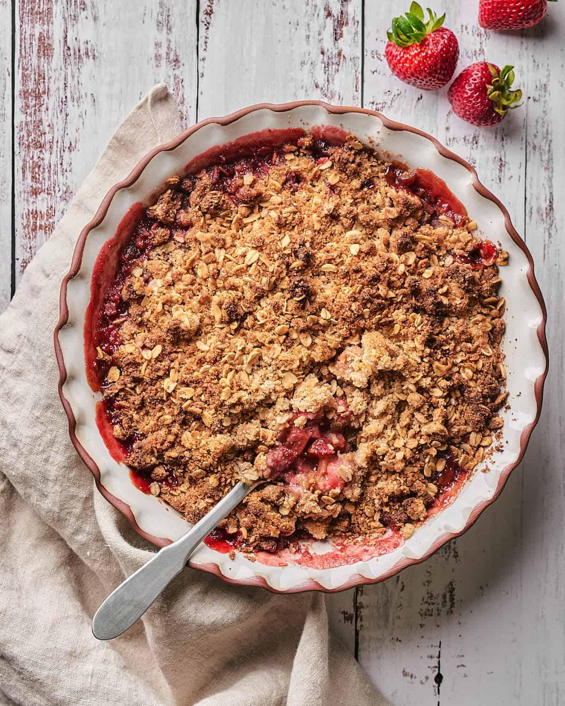 top view photo of strawberry rhubarb crisp