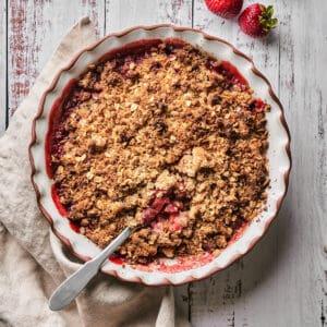 Top down view of vegan gluten-free strawberry rhubarb crisp