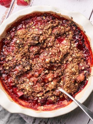 top view shot of gluten free strawberry rhubarb crisp