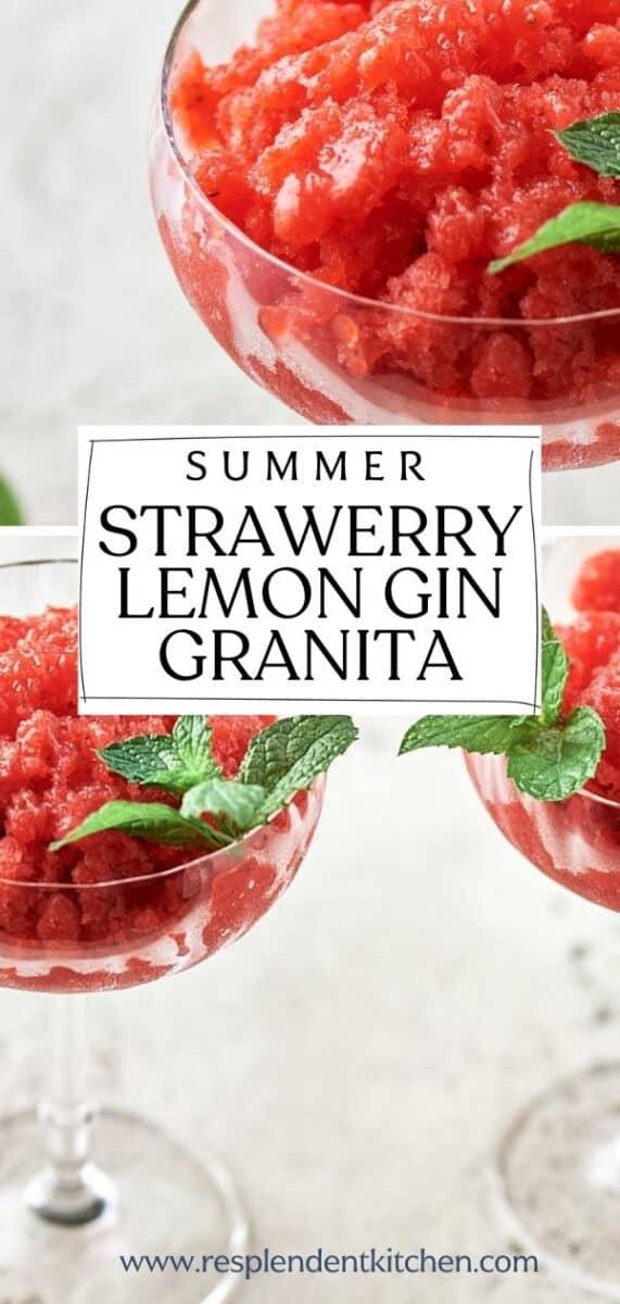Strawberry Lemon Gin Granita pin