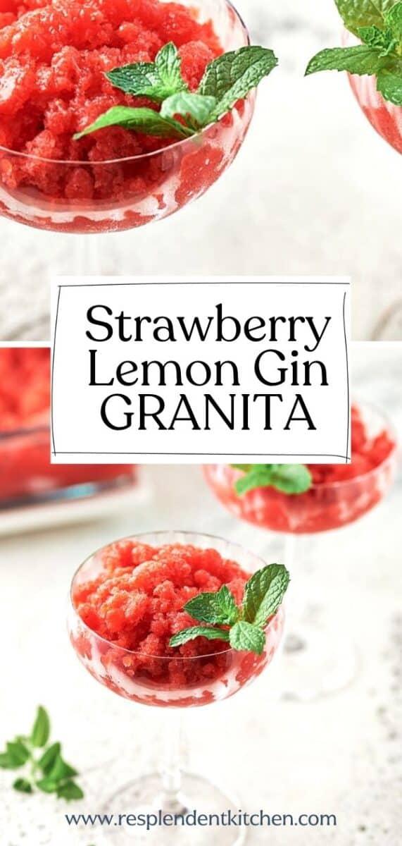 Strawberry Lemon Gin Granita pin Resplendent Kitchen