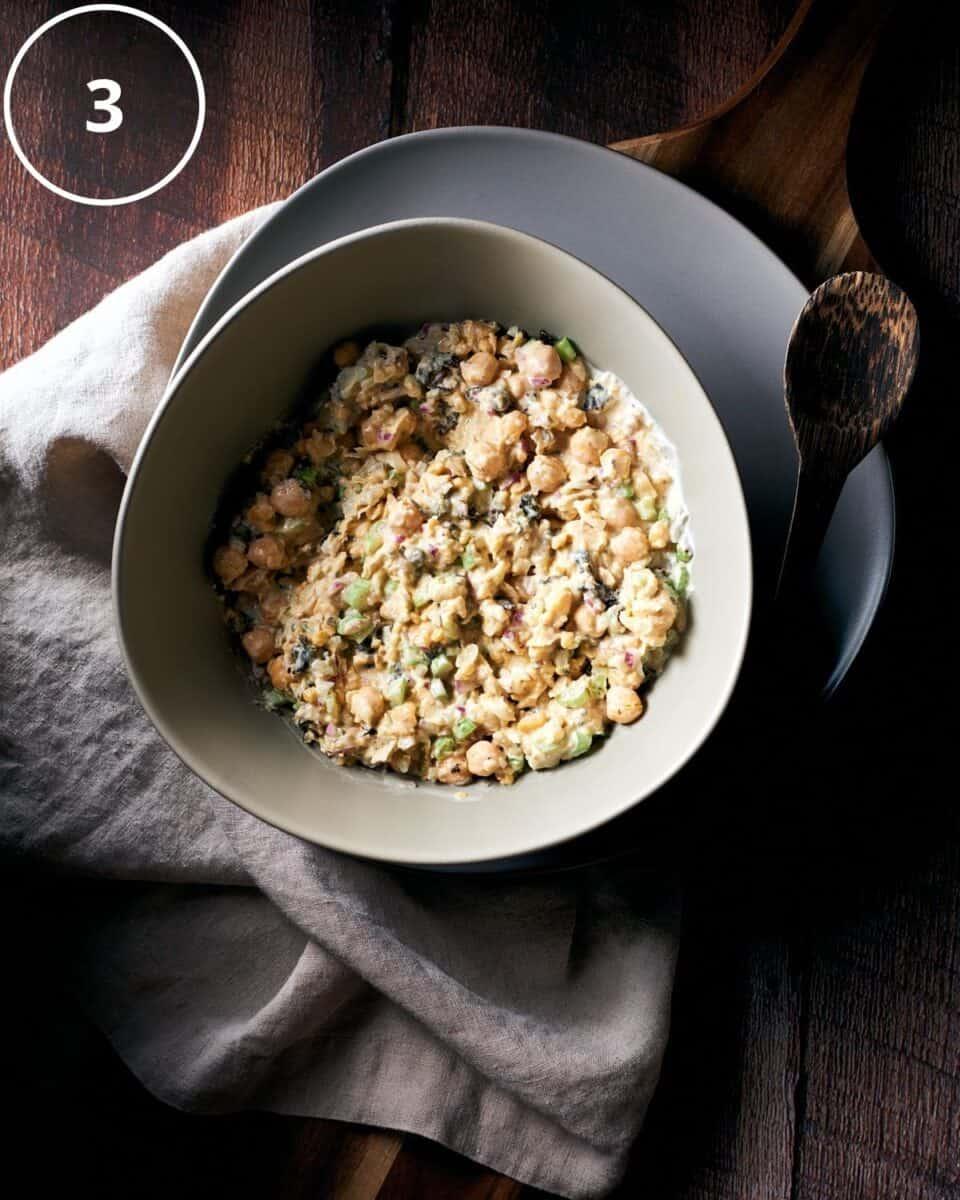 Mixed chickpea salad ingredients