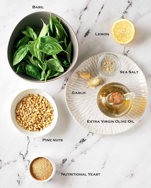 top down view of basil pesto ingredients