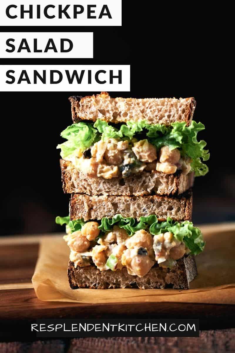 Pin of Vegan Chickpea Salad Sandwich