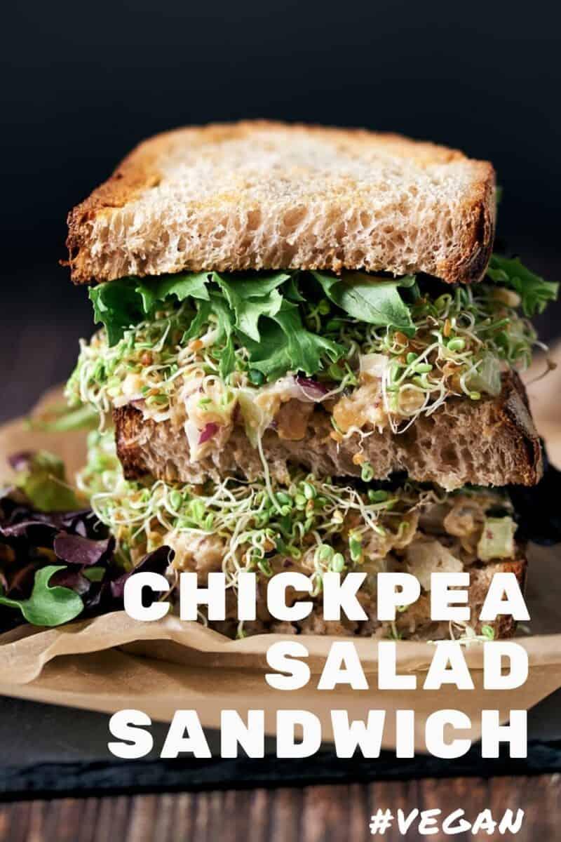 Vegan Chickpea Tuna Salad Sandwich high protein