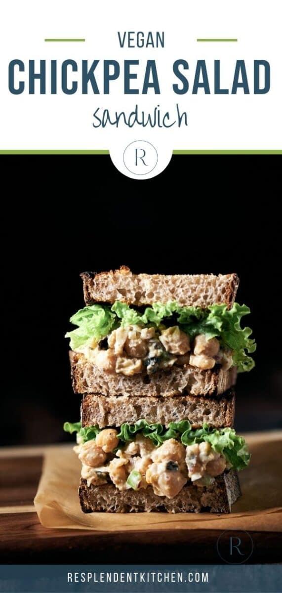 Chickpea no tuna salad sandwich healthy vegan lunch