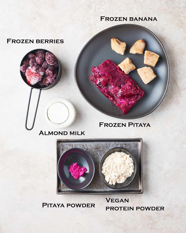 ingredients for pitaya smoothie bowl