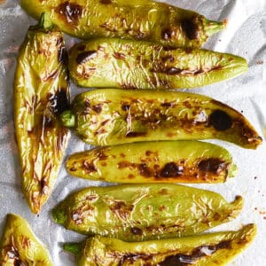 Top down view close up of roasted Hatch chiles