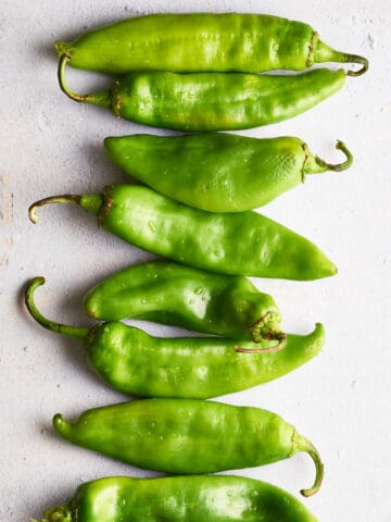 overhead view of Hatch chiles