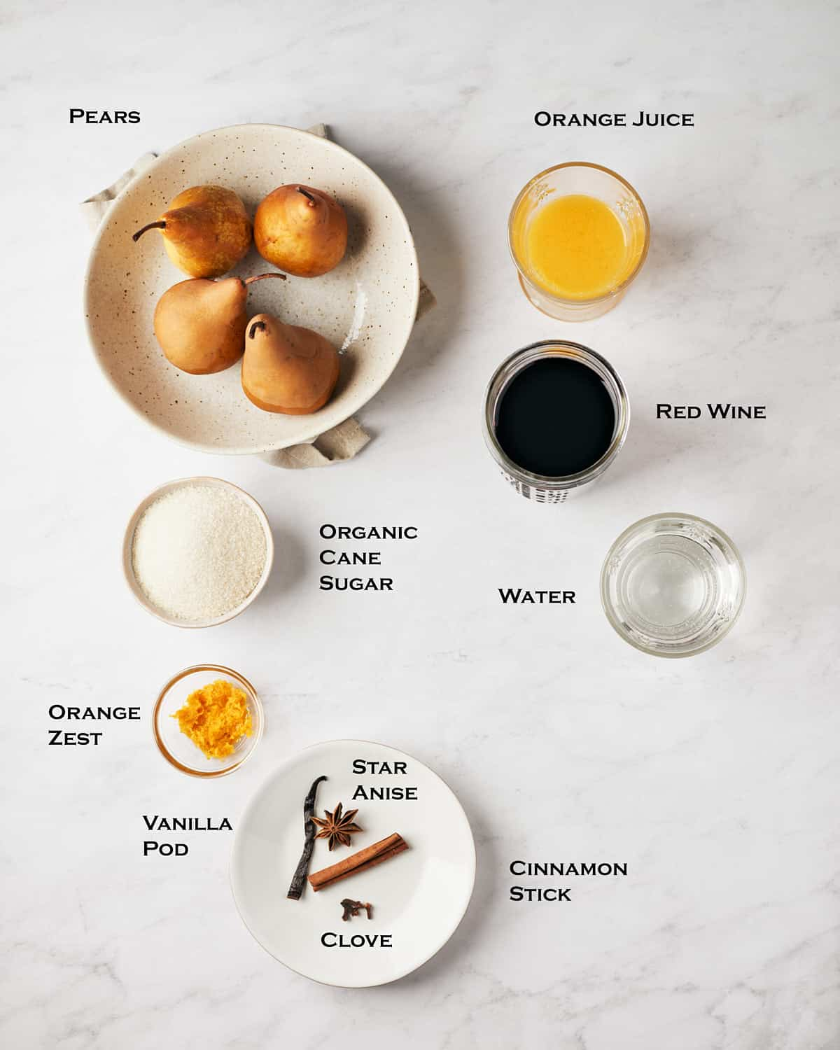 overhead view of ingredients for red wine poached pears